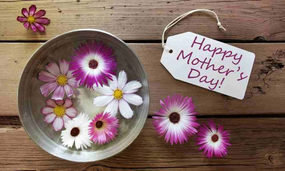 mother's day sign and purple and white flowers in a bucket