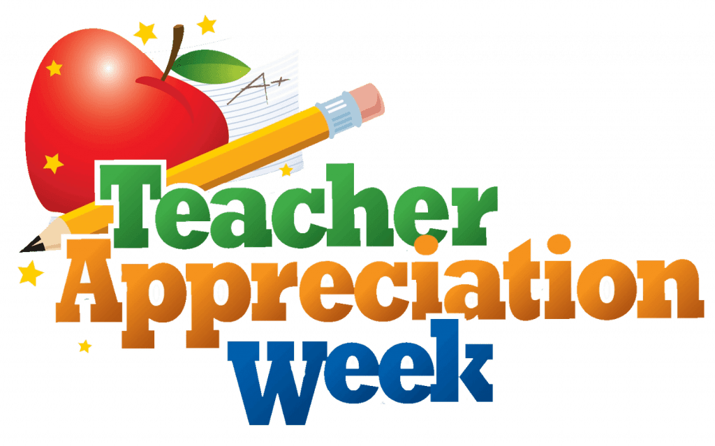 it's teacher appreciation week with red apple and pencil