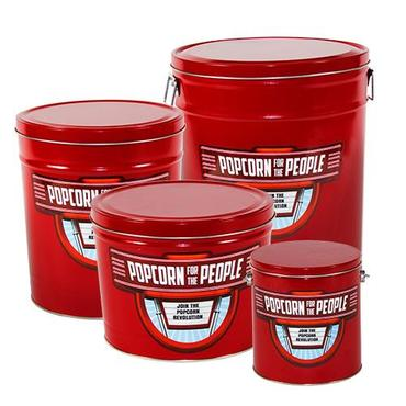 four red tins of popcorn for the people