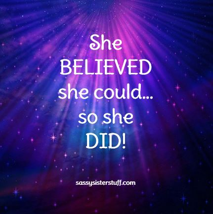 she believe she could so she did graphic on blue and pink background