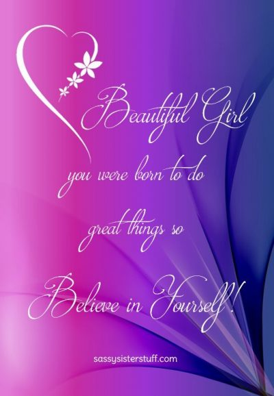 purple and pink background with a flower heart and a quote