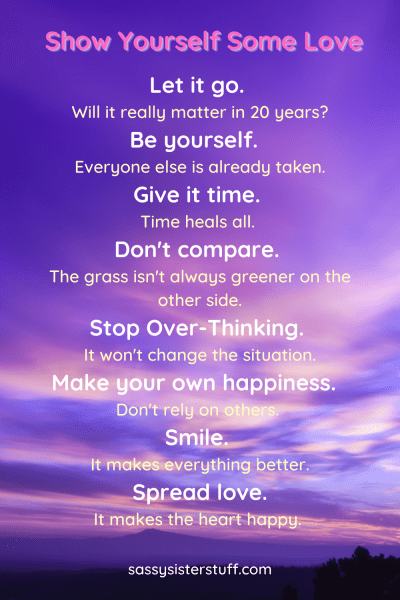 purple and pink sky background with a quote about showing yourself some love