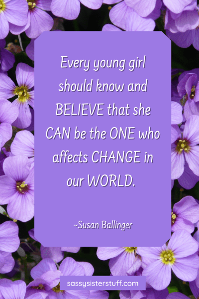 purple floral background with an empowerment quote for girls