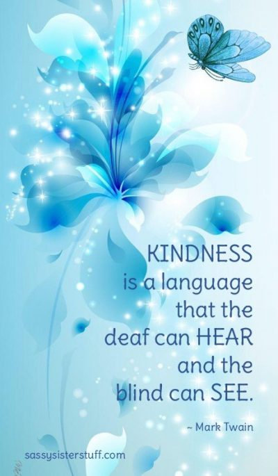 shades of blue florals and a butterfly background with a kindness quote
