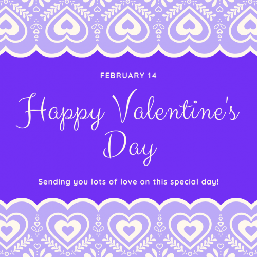Happy Valetines Day message with purple and lavender heart background