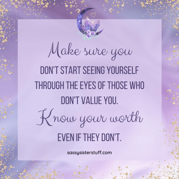 lavender and gold background with know your worth self love inspirational quote
