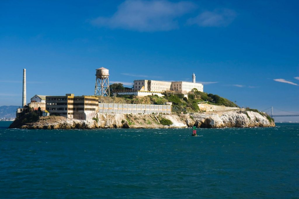island of alcatraz surrounded by bay water