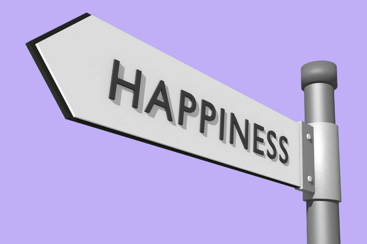 happiness road sign on lavender background