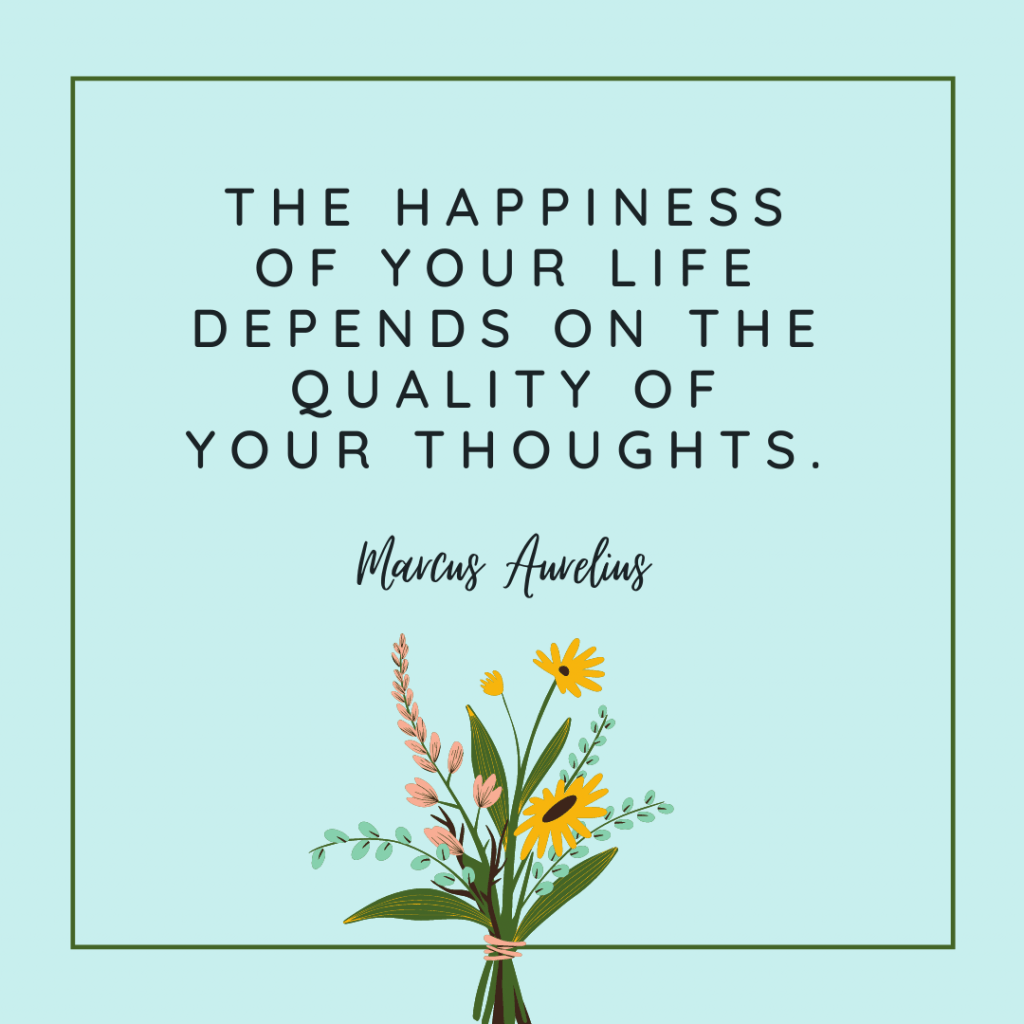 positivity quote on a teal background with yellow flowers
