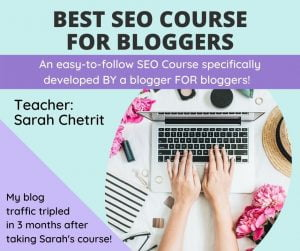mint green and lavender ad for seo course with photo of someone typing on a white laptop on a beautifully decorated desk