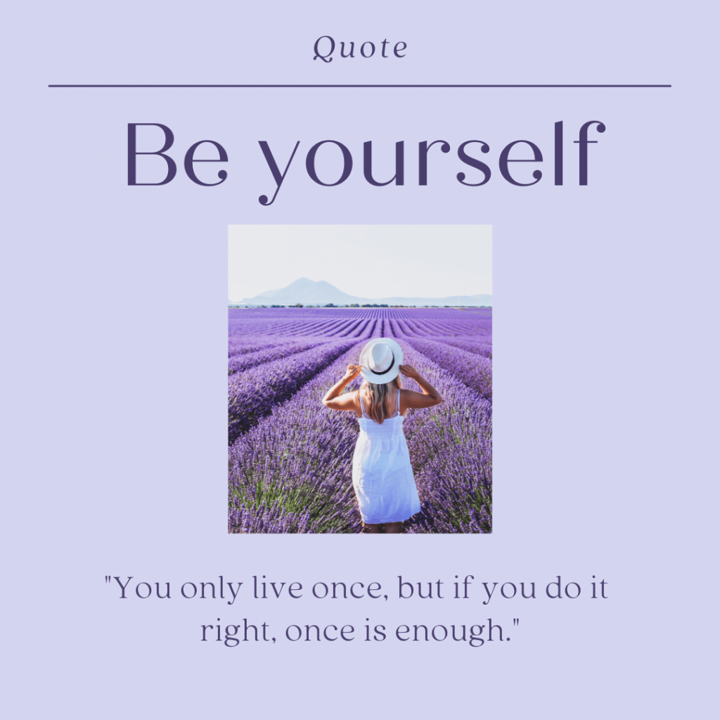 lavender background and a photo of a young lady standing in a field of purple flowers with self love quote