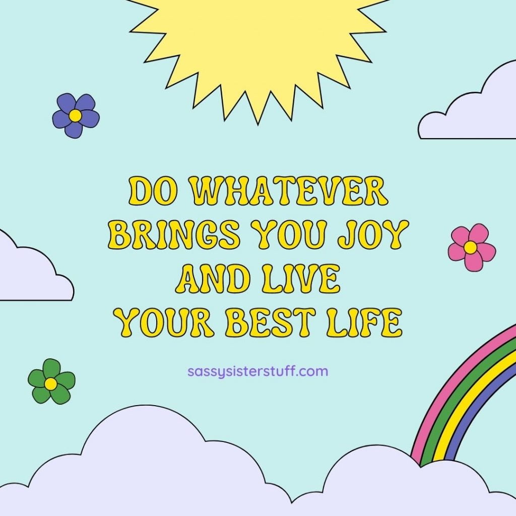 multi pastel colored self love quote with clouds flowers sun rainbow and text