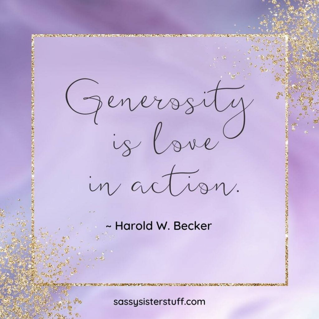 lavender and gold background with a quote about generosity