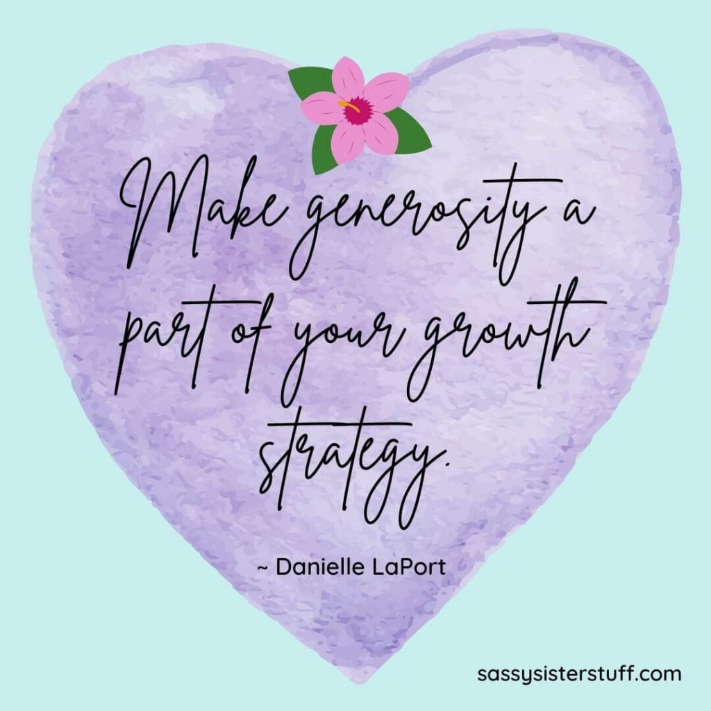 generosity quote on a lavender heart with a pink flower at the top