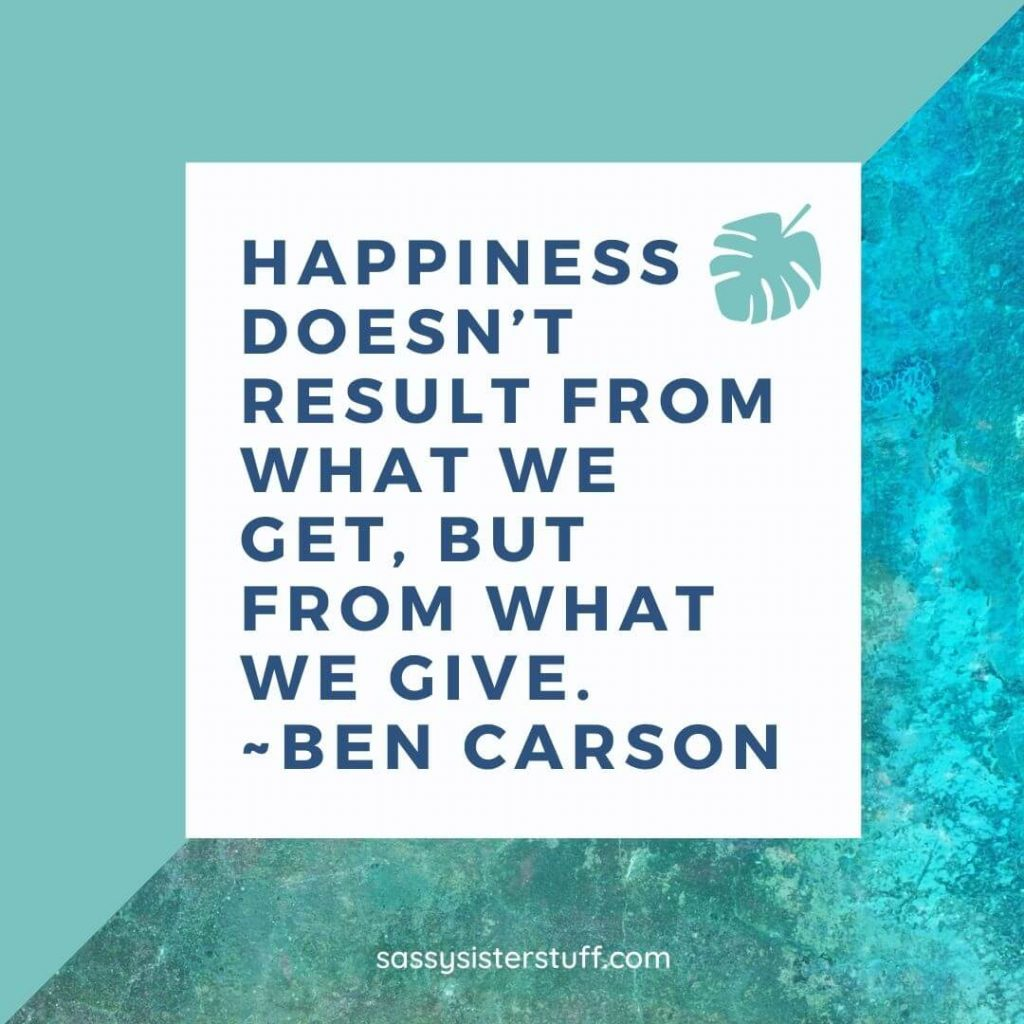 a teal background with a quote about happiness