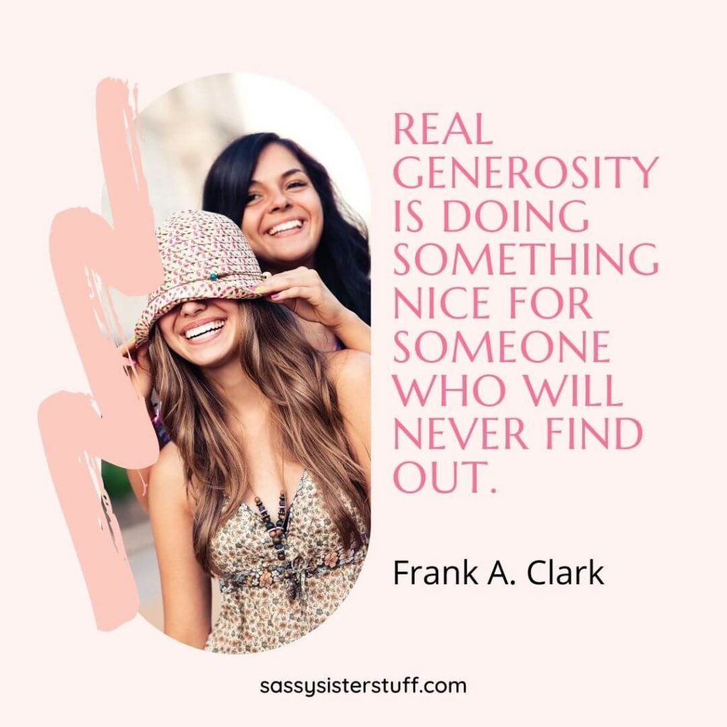 two happy women and a quote about doing something nice for people