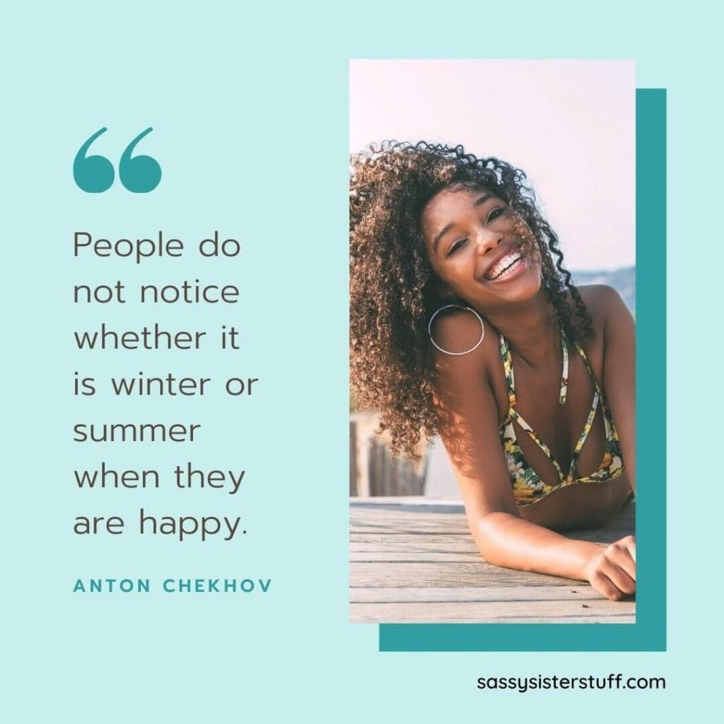 beautiful young woman smiling in a swimsuit with a quote about happiness