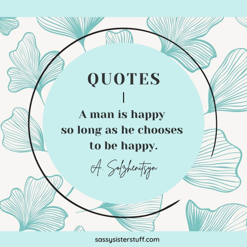 teal and ivory background with a quote about happiness