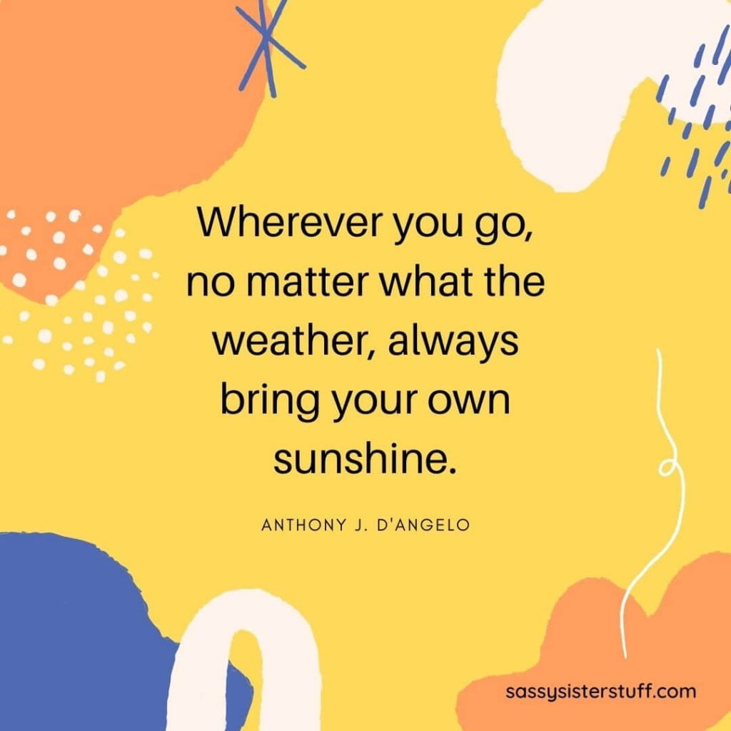 yellow orange blue and white background with a happiness quote