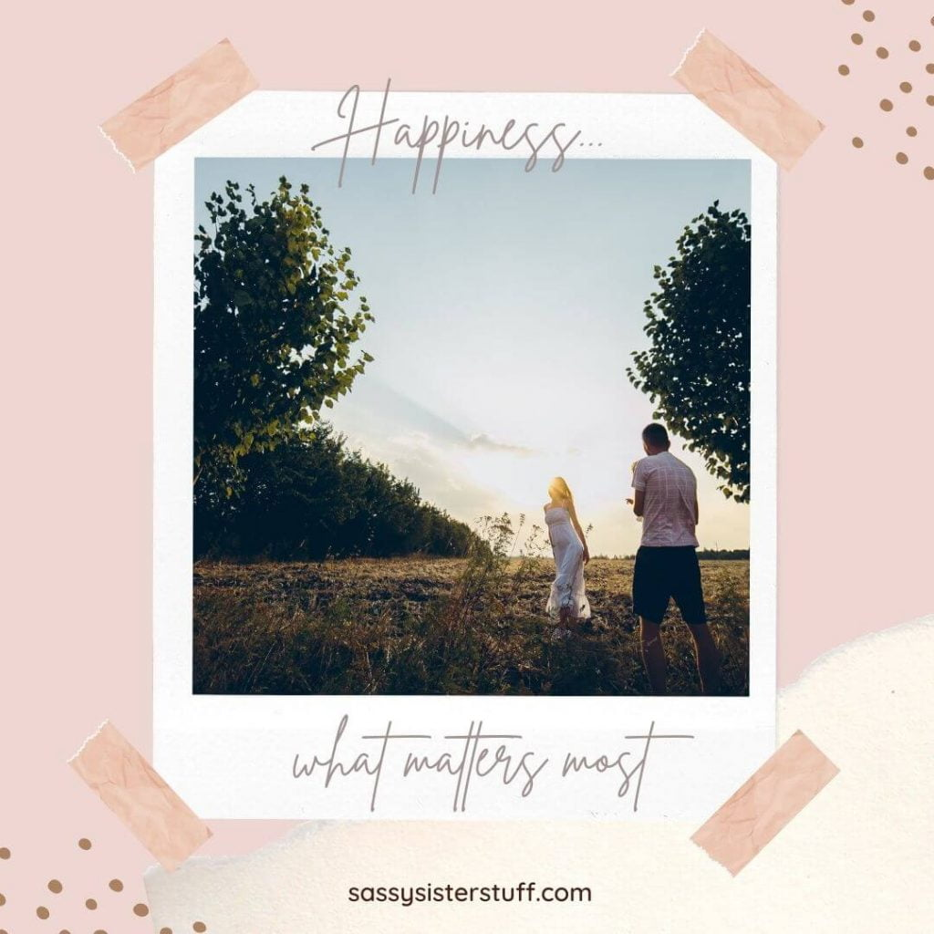 pink and ivory background with a photo of two happy people and a happy quote