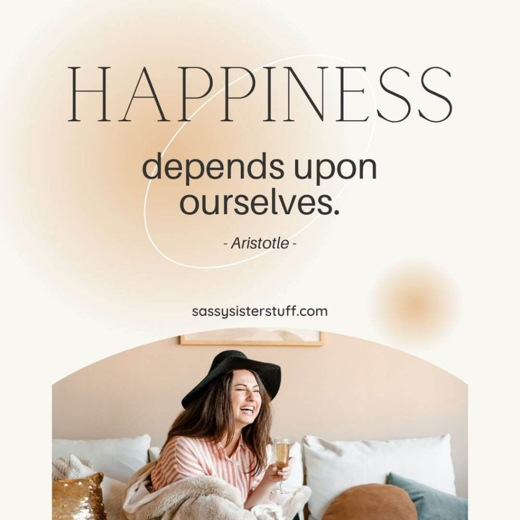 very happy lady laughing on her bed with a happiness quote above her
