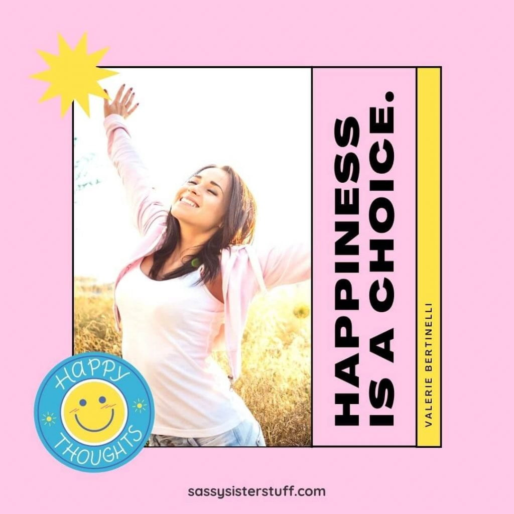pink and yellow background with a very happy lady in a field and a happiness quote