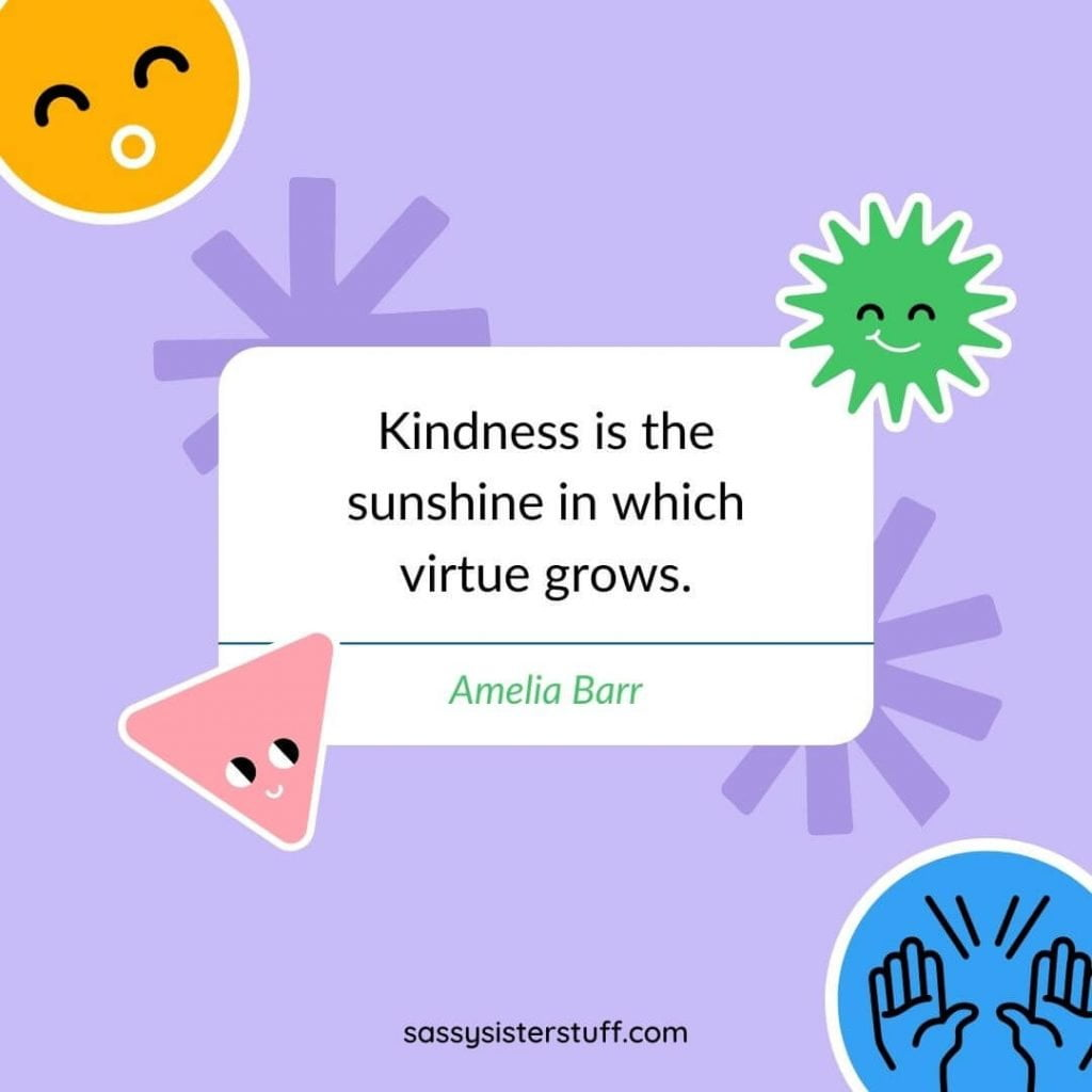 brightly colored background with a kindness quote in the center