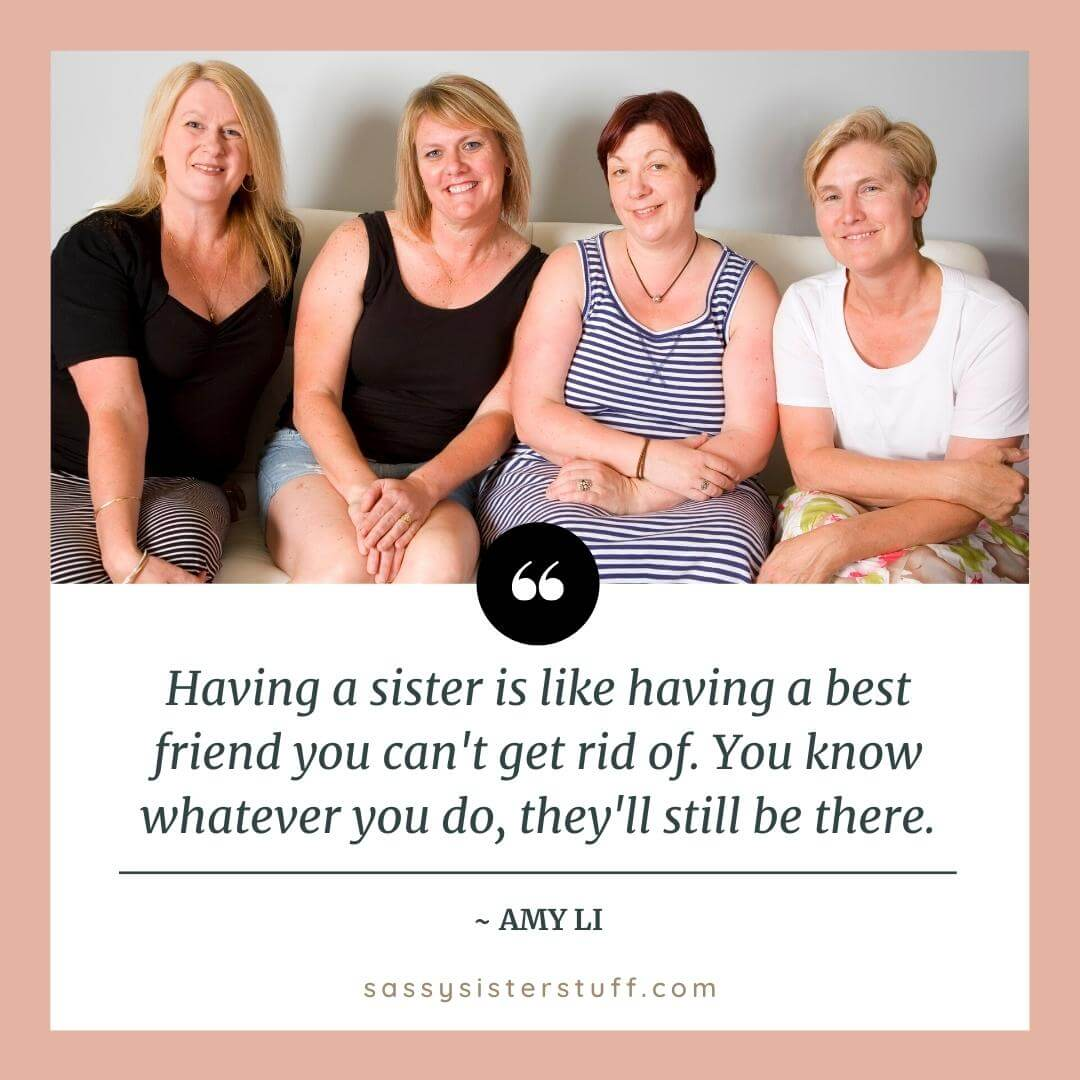 four sister friends sit on a sofa together with with a sweet sister quote