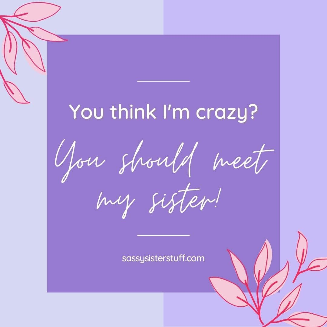 lavender background pink flowers and a funny sister quote