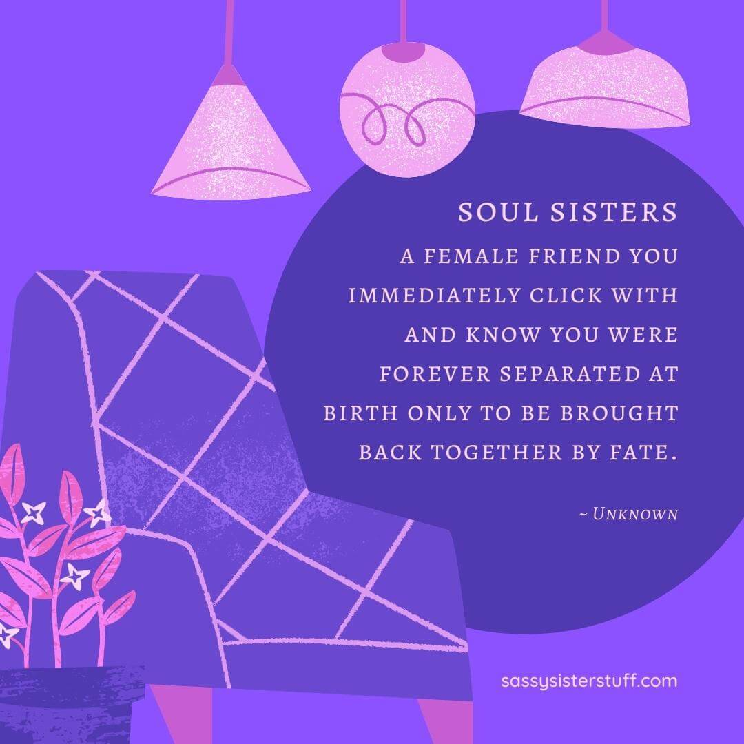 purple background with chair and lights and a quote about soul sisters