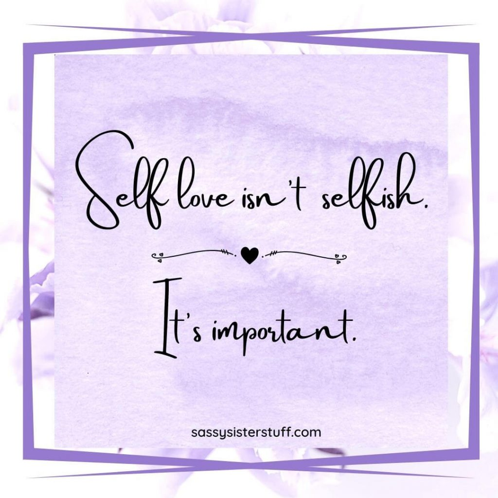 lavender floral background with self love quote