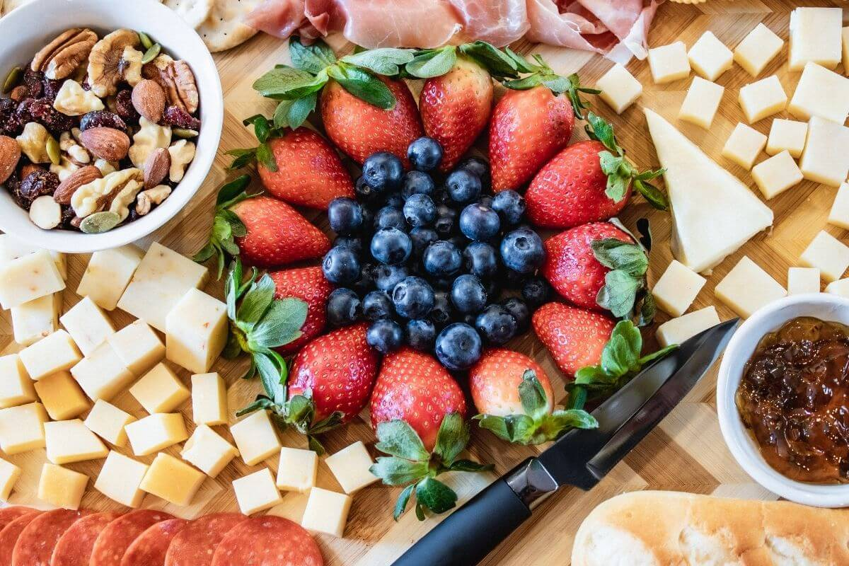 fruit cheese nuts meats jam bread charcuterie board display