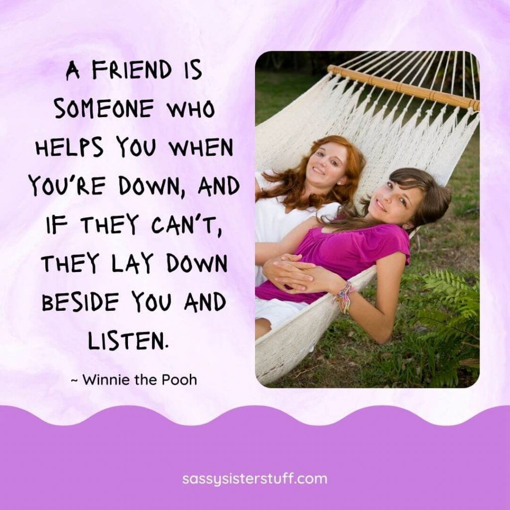 two friends lay in a hammock together smiling plus a quote about special friends