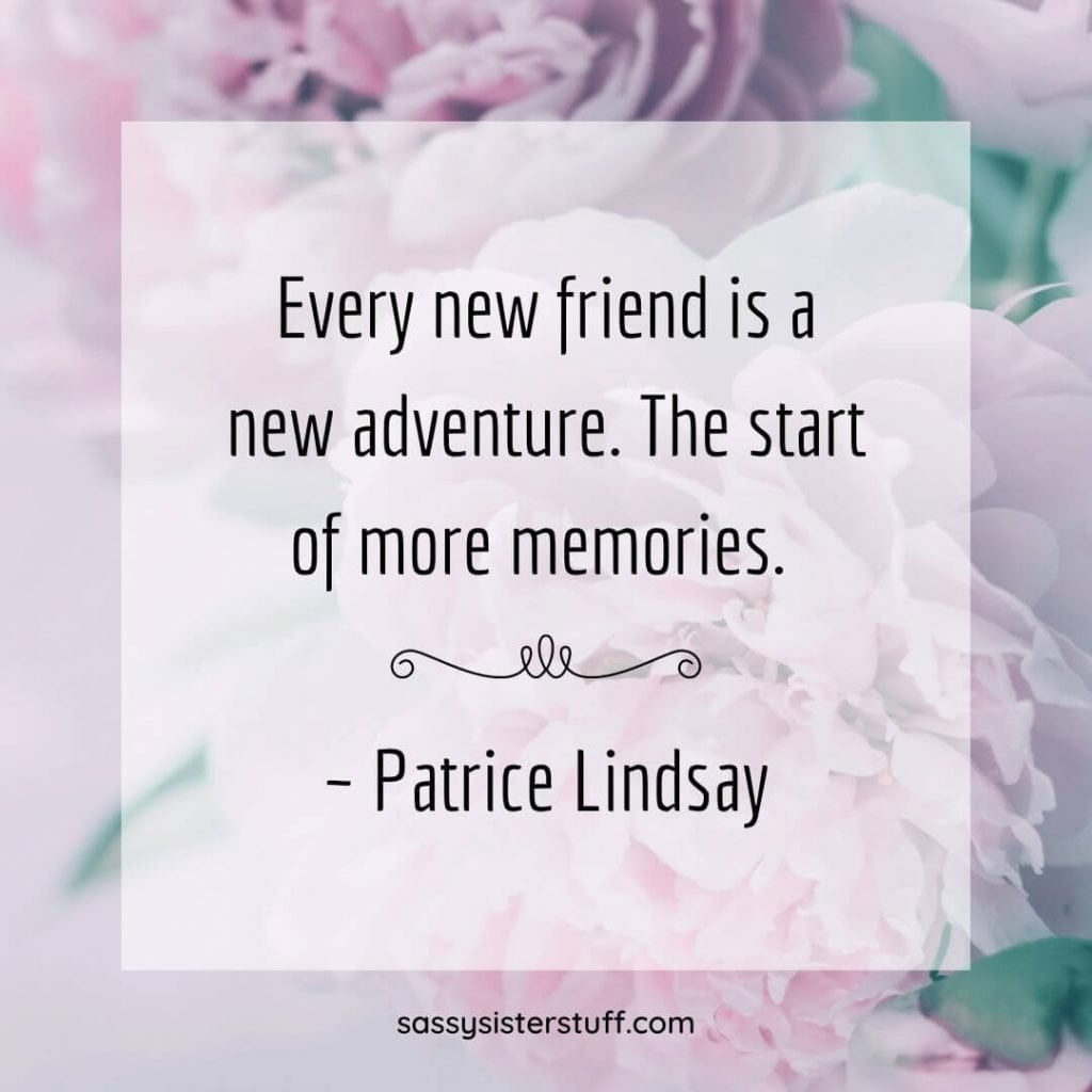 lavender flowers with white overlay and a quote about friends and adventures