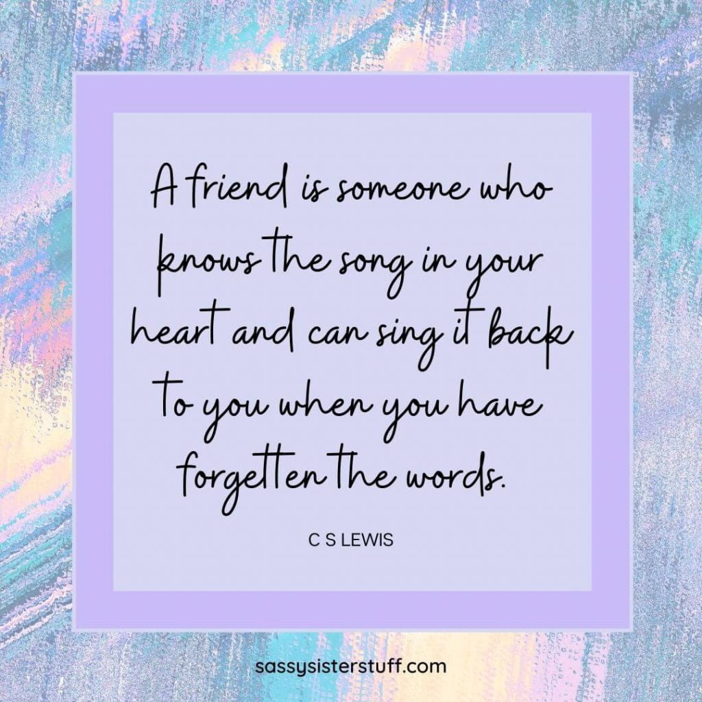 C S Lewis quote about friendship on a lavender and pastel multicolor background
