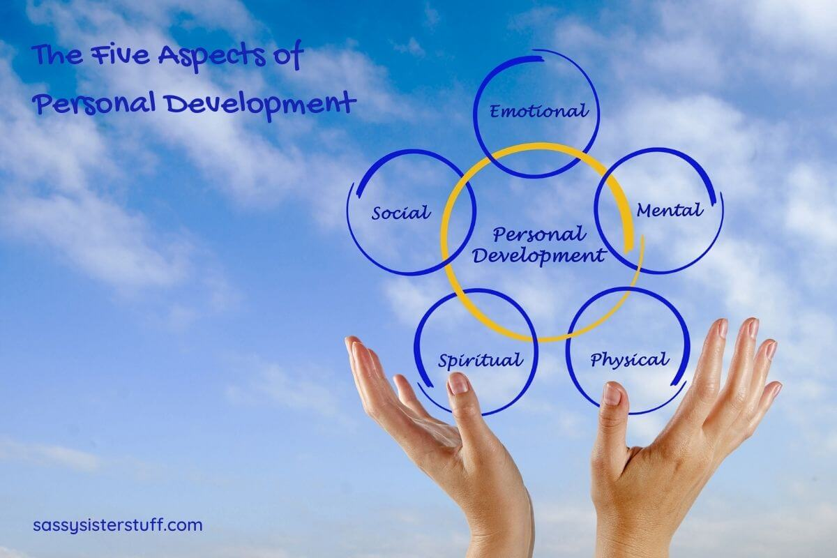 five aspects of personal development written in circles against a sky background