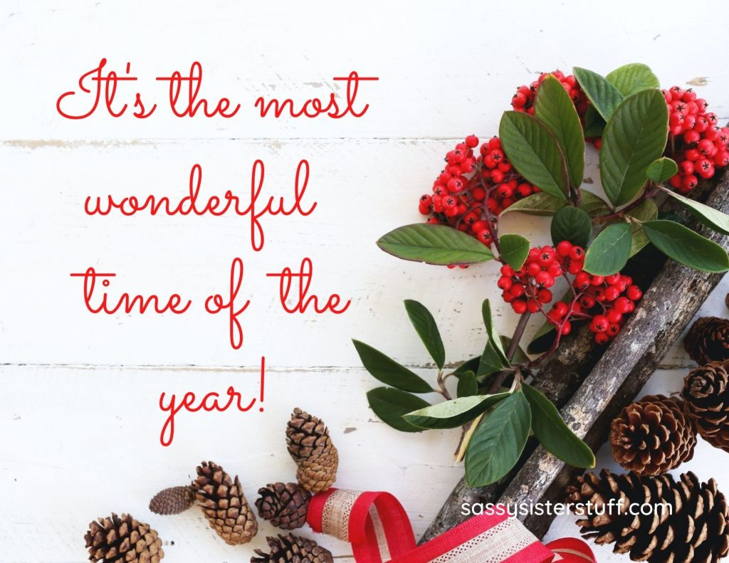 Sweet Christmas Message on white background green holly pine cones and red berries