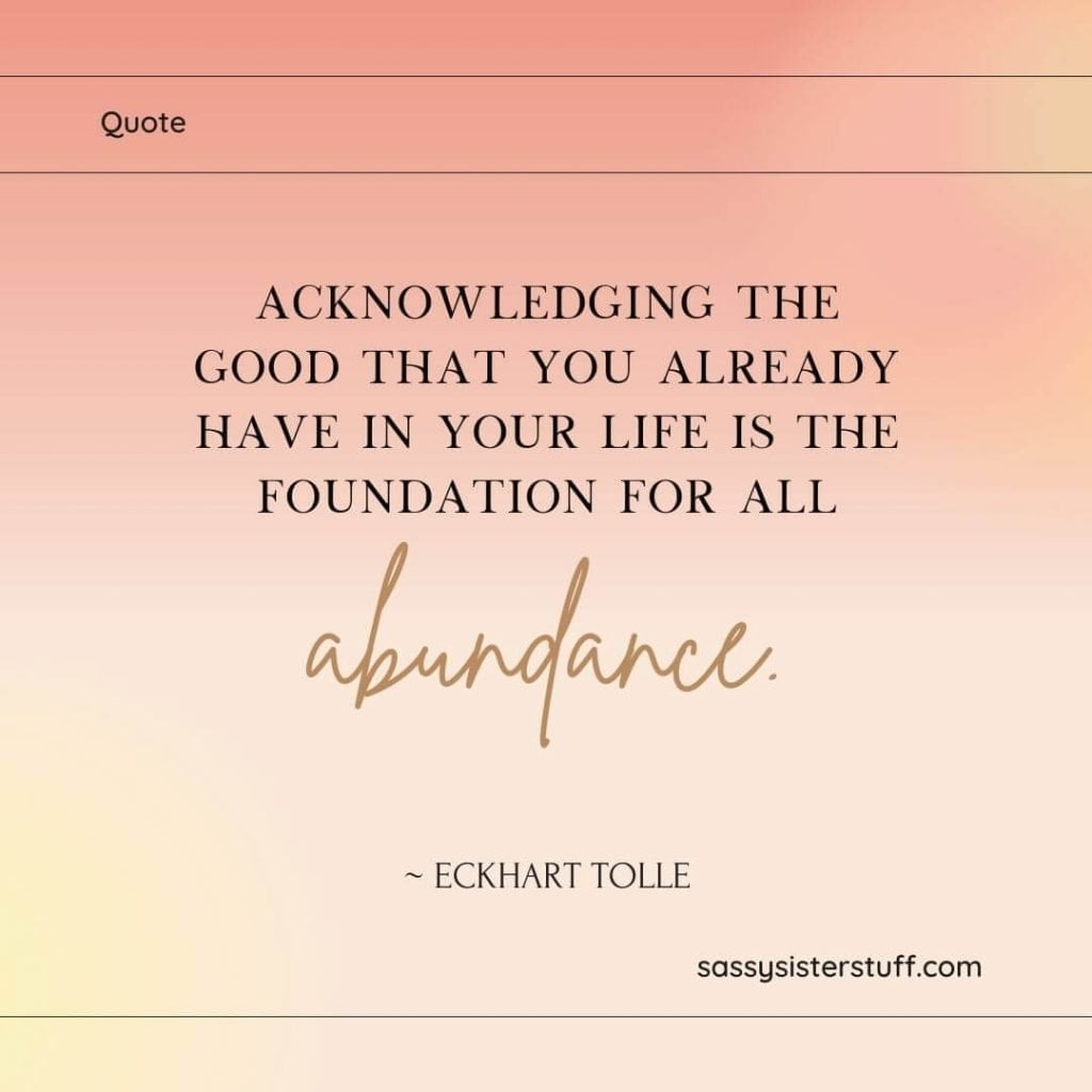 gratitude quote on shades of peach and gold background