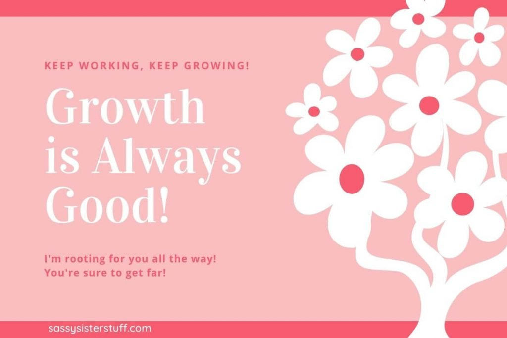 growth is always good and a white tree with flowers on it on a pink and coral background