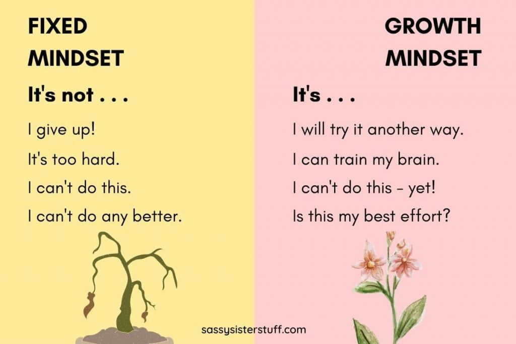 fixed minset and growth mindset words on a yellow and pink background