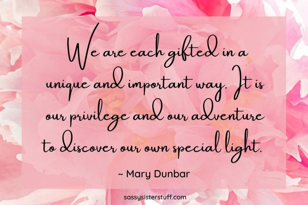 florals in shades of pink with a mindset quote