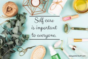 assorted self care items laying on a mint green background with words in the middle of the image