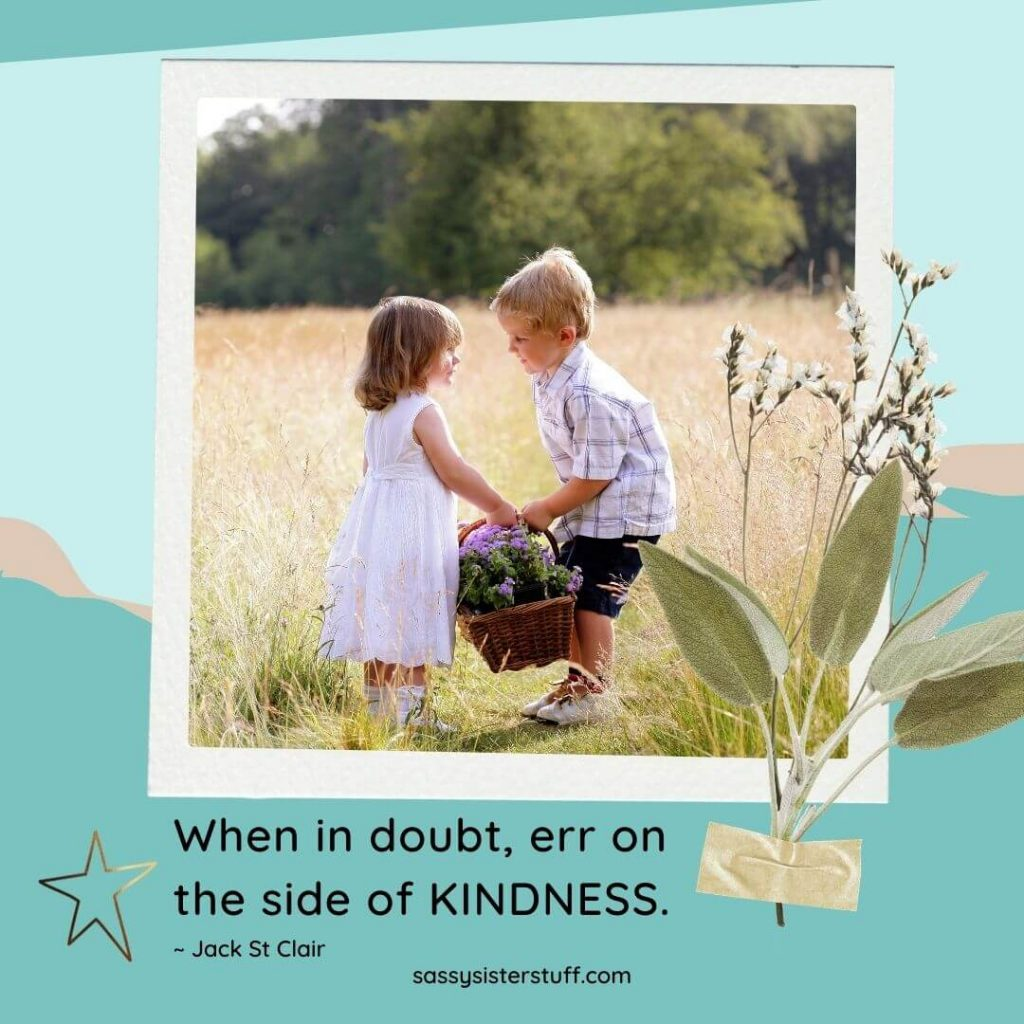 young boy giving flowers to young girl with kindness quote