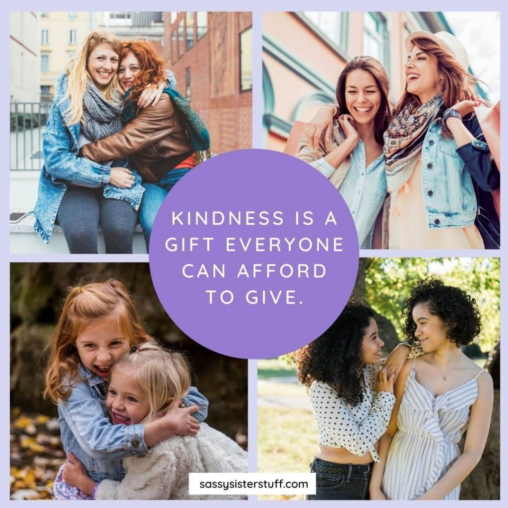 four photos of 2 friends and a kindness quote in the center
