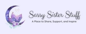 pale lavender sassy sister stuff site header with logo and tag line