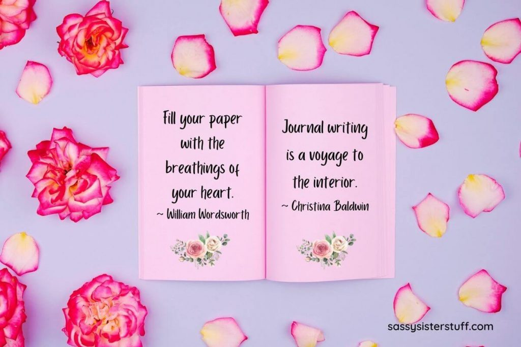lavender background with pink and yellow roses and an open journal with two quotes about journaling
