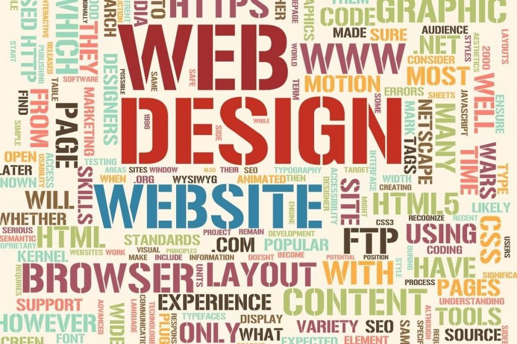 word cloud with variety of words associated with wordpress website design