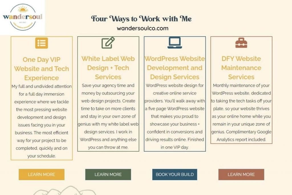 wandersoul chart with four ways to work with me listed