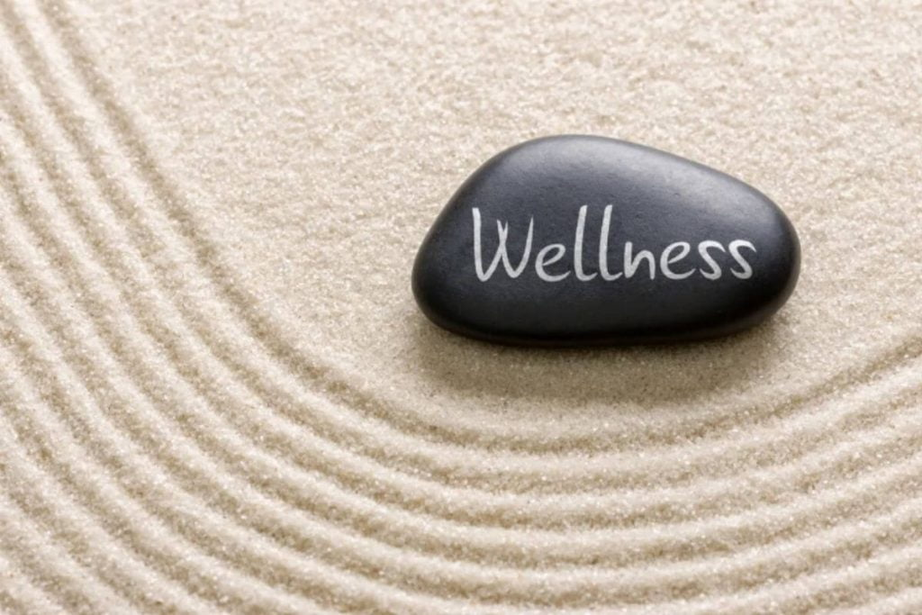 black rock with wellness written on it laying in the sand