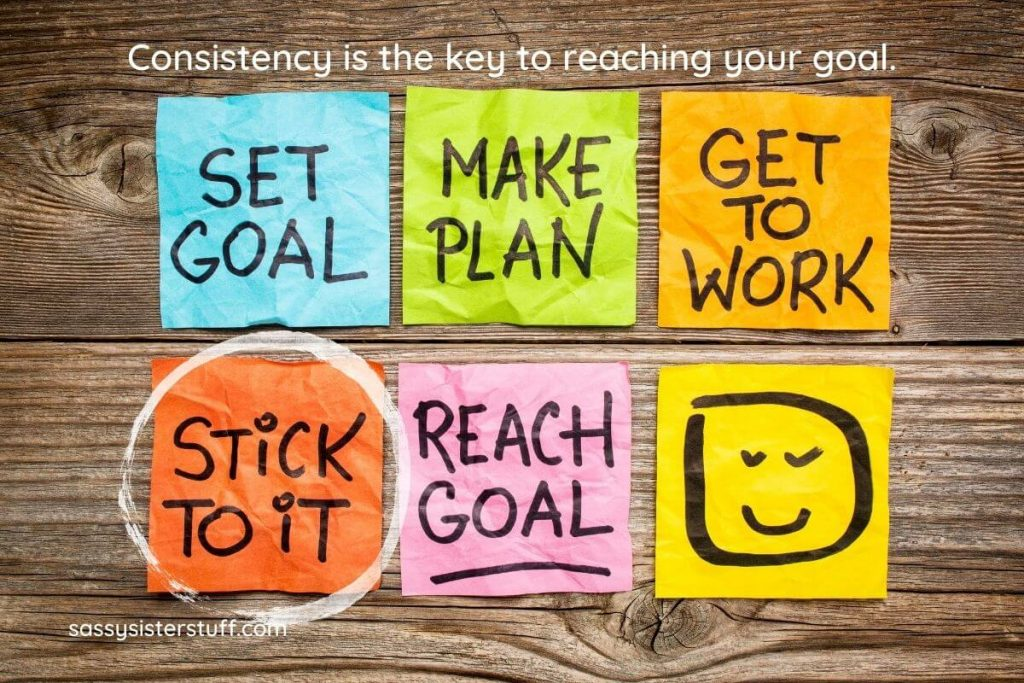 post it notes on a wooden board with strategies written to show the process of being consistent